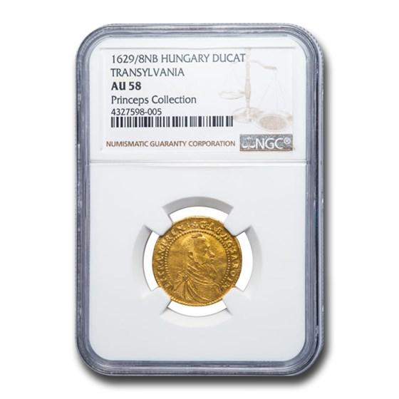 1629/28 Transylvania Gold Ducat AU-58 NGC (Princeps Collection)