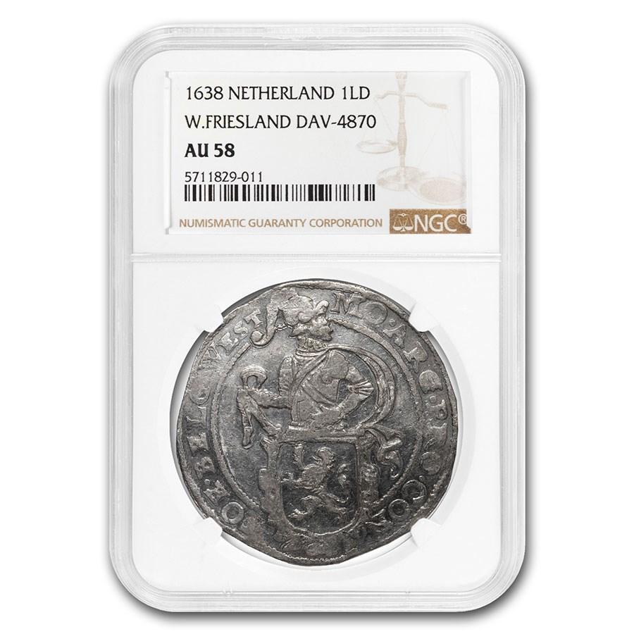 1638 Netherlands AR Lion Dollar W. Friesland AU-58 NGC (Dav-4870)