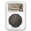 1641 Netherlands AR New York Lion Dollar Genuine Circulated NGC