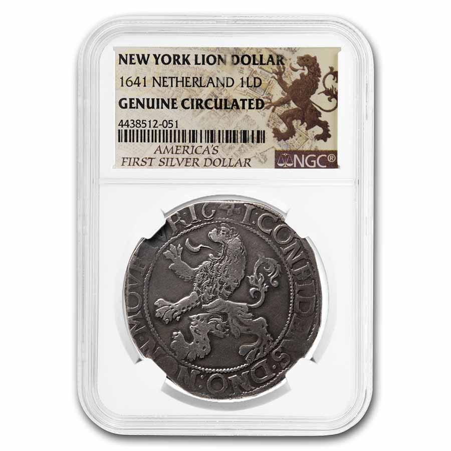 1641 Netherlands AR New York Lion Dollar Genuine Circulated NGC