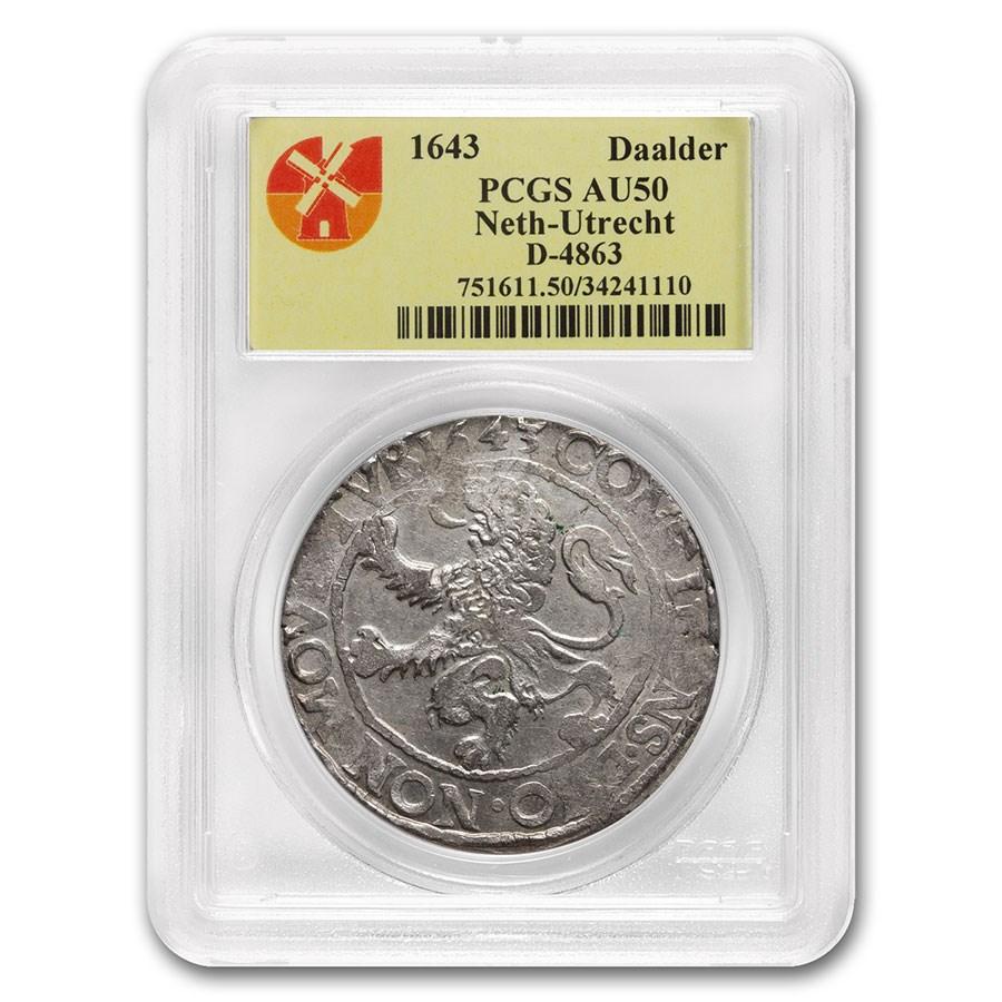 1643 Netherlands AR Lion Dollar Utrecht AU-50 PCGS (Dav-4863)