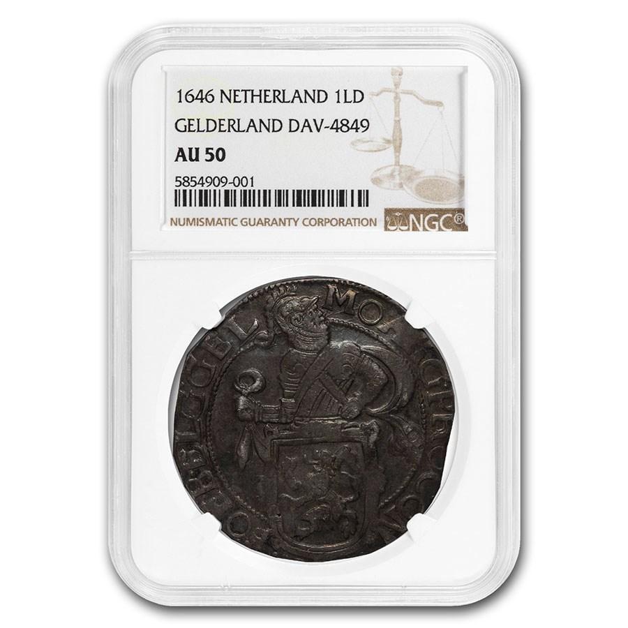 1646 Netherlands AR Lion Dollar Gelderland AU-50 NGC (Dav-4849)