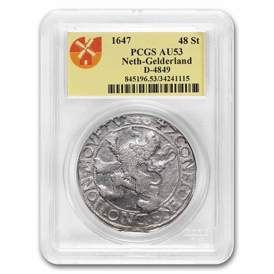 1647 Netherlands AR Lion Dollar Gelderland AU-53 PCGS (Dav-4849)