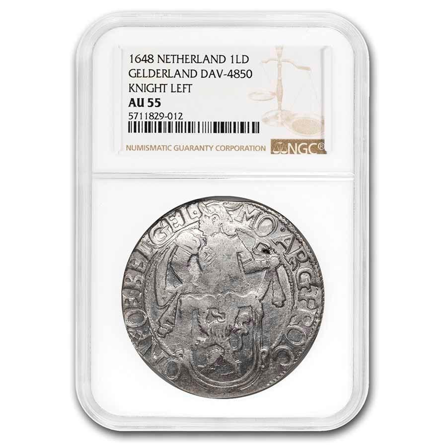 1648 Netherlands Lion Dollar Gelderland AU-55 NGC (Dav-4850)