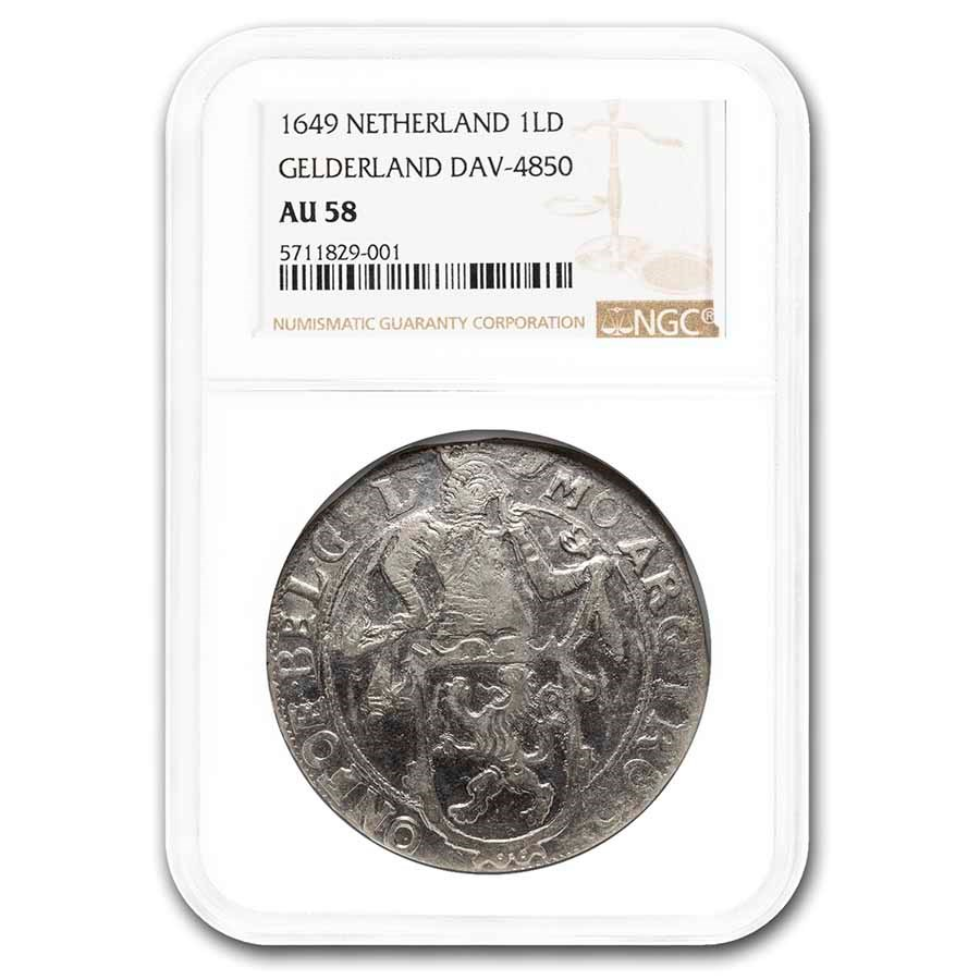 1649 Netherlands Lion Dollar Gelderland AU-58 NGC (Dav-4850)