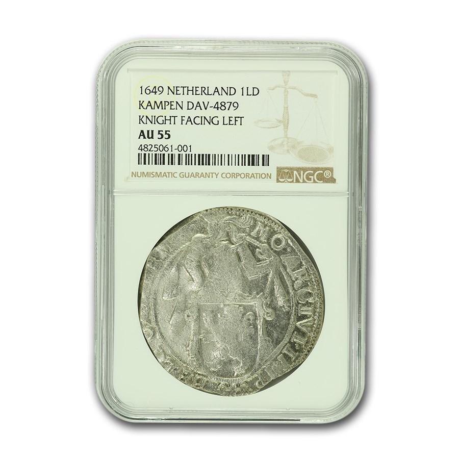 1649 Netherlands Lion Dollar Kampen AU-55 NGC (Dav-4879)