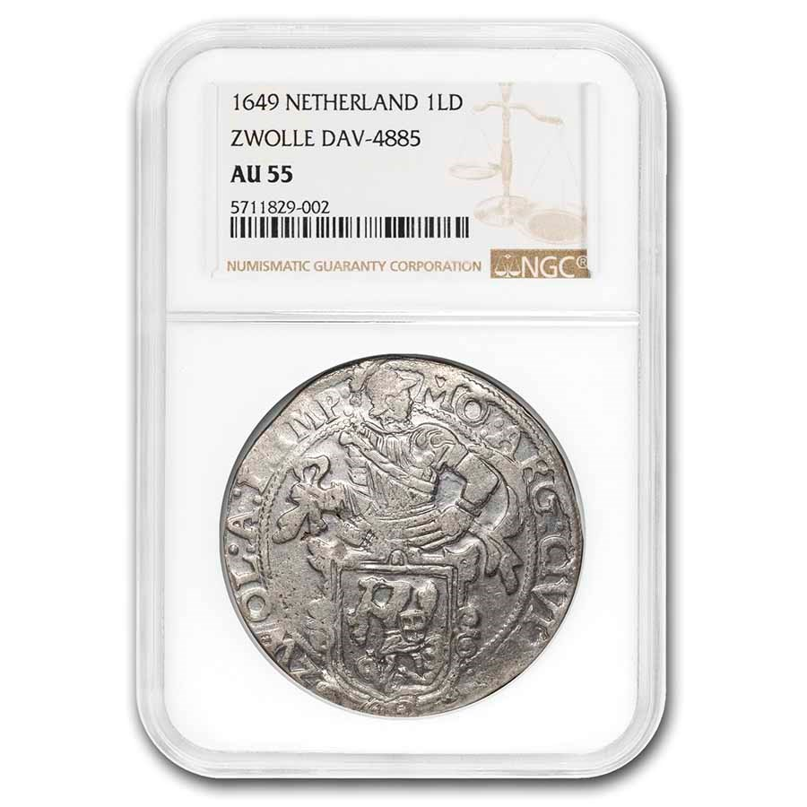 1649 Netherlands Lion Dollar Zwolle AU-55 NGC (Dav-4885)