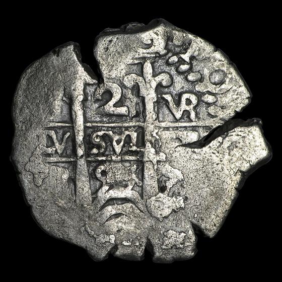 1651-1773 Spanish Empire Silver 2 Reales Cob (Shipwreck Effect)