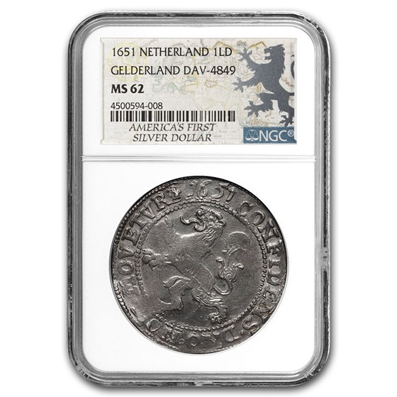 1651 Netherlands AR Lion Dollar Gelderland MS-62 NGC (Dav-4849)