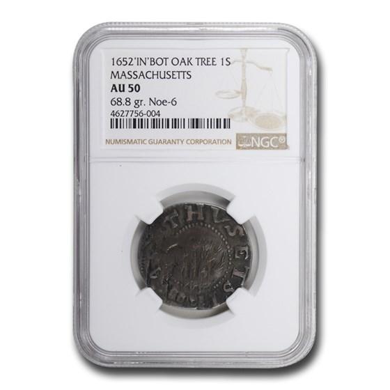 1652 IN BOT Oak Tree Shilling Massachusetts AU-50 NGC