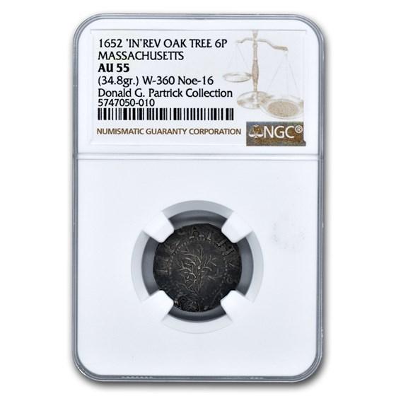 1652 Oak Tree 6 Pence AU-55 NGC (34.8 grains)