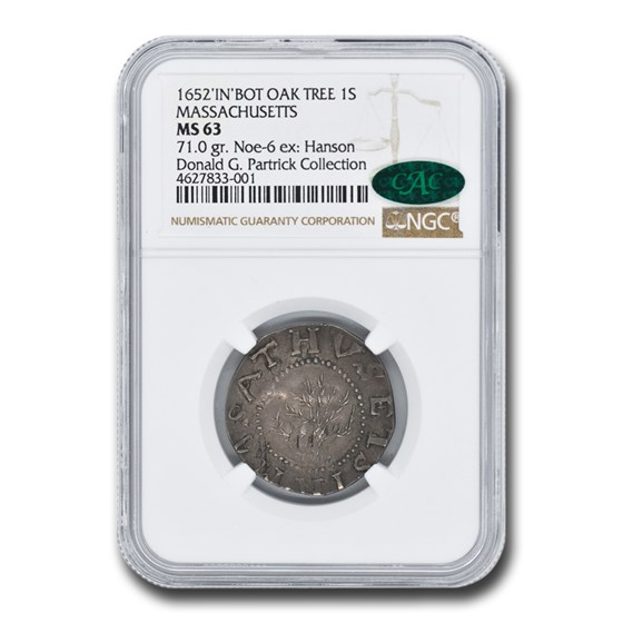 1652 Oak Tree Shilling MS-63 NGC CAC (IN at Bottom Variety)