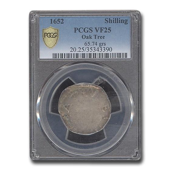 1652 Oak Tree Shilling VF-25 PCGS (65.74 grains)