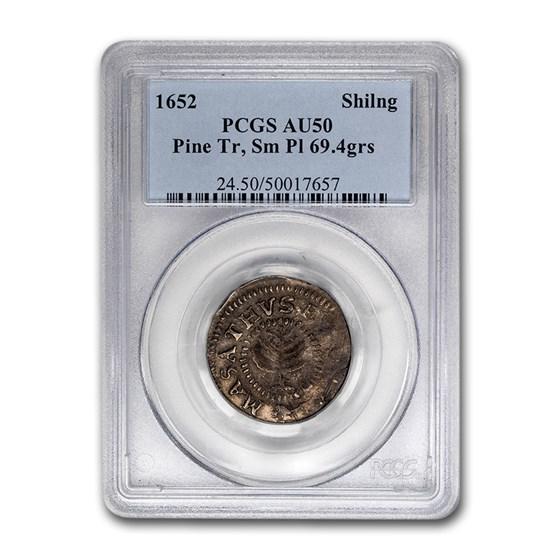 1652 Pine Tree Shilling AU-50 PCGS (Sm Pl 69.4 grains)