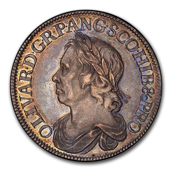 1658/7 Great Britain Silver Crown Oliver Cromwell AU-58 PCGS