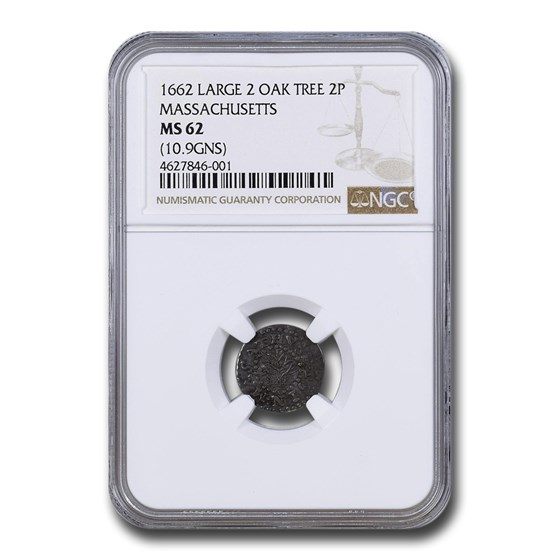 1662 Massachusetts Oak Tree 2 Pence MS-62 NGC (Large 2 10.9 GNS)