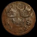 1666-1686 Sweden Copper 1/6 Ore Karl XI Shipwreck