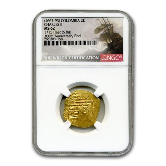(1667-1693) Colombia Gold 2 Escudos Charles II Type MS-62 NGC