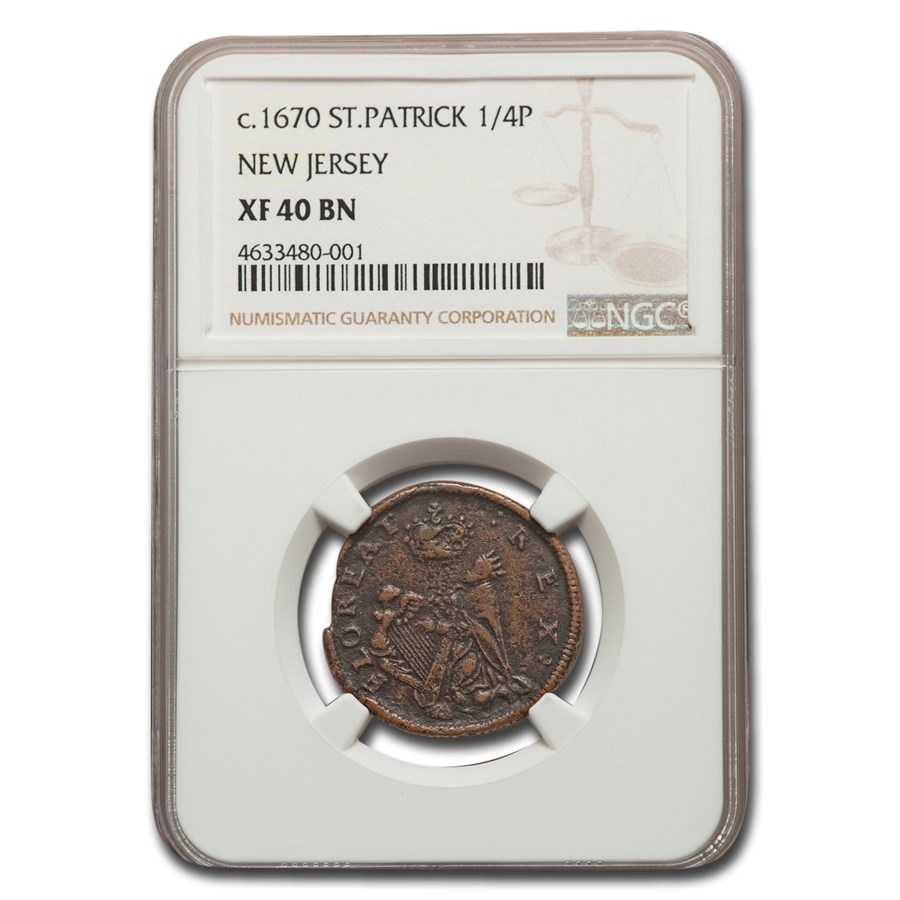 (1670-1675) St. Patrick New Jersey 1/4 Penny XF-40 NGC (Brown)