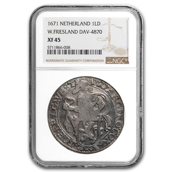 1671 Netherlands AR Lion Dollar W. Friesland XF-45 NGC (Dav-4870)