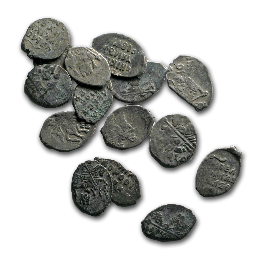1672-1725 Russia Silver Kopek Peter the Great Wire Money Avg Circ