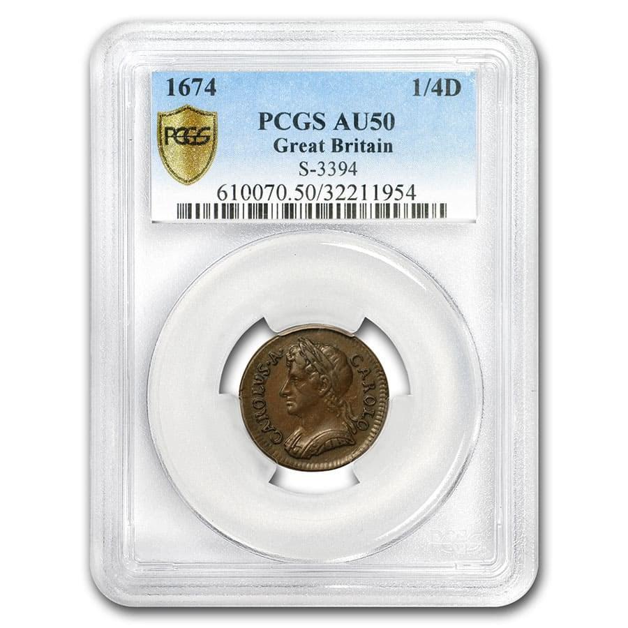 1674 Farthing George II AU-50 PCGS (Brown)