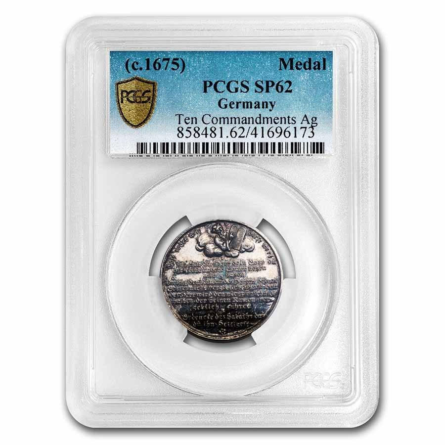 (1675) Germany Silver Ten Commandments Medal SP-62 PCGS