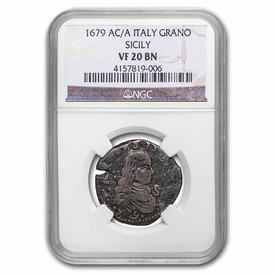 1679 Naples & Sicily AE Grana VF-20 NGC (Brown)