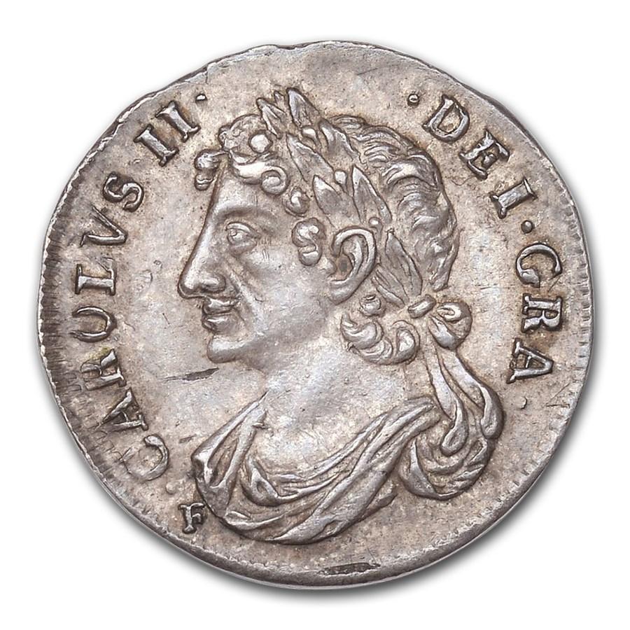 1681 Great Britain Silver 1/4 Merk Charles II MS-62 NGC