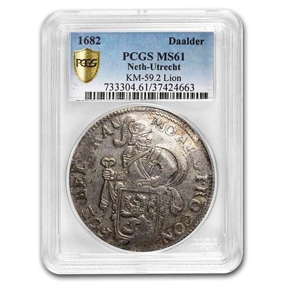 1682 Netherlands AR Lion Dollar Utrecht MS-61 PCGS (KM-59.2)