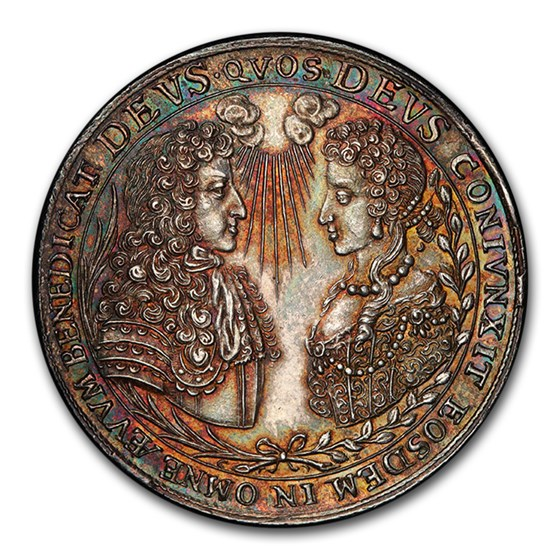 1685 German States Bavaria Silver Medal 1/2 Thaler MS-63 PCGS
