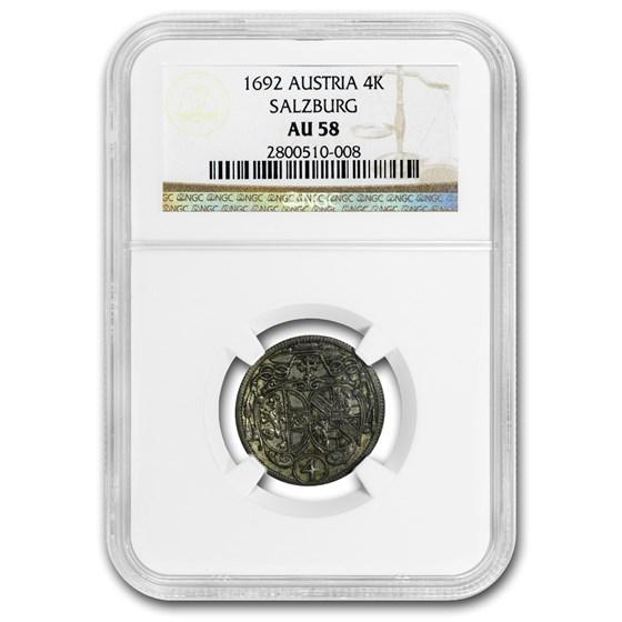 1692 Austria Silver Batzen (Salzburg) AU-58 NGC