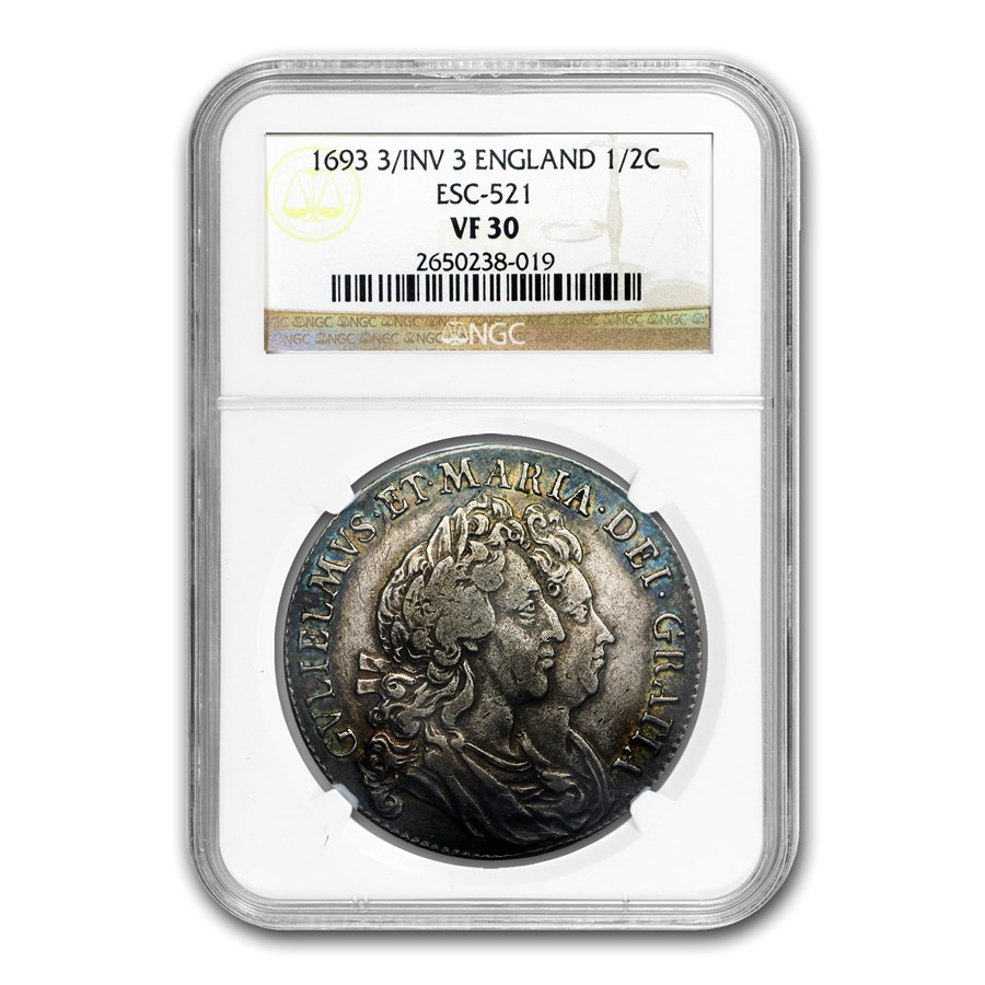 1693 Great Britain Silver 1/2 Crown William & Mary VF-30 NGC