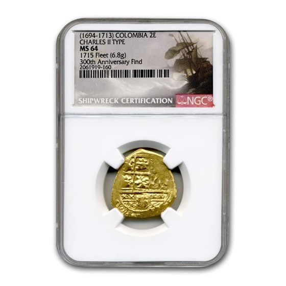 (1694-1713) Colombia Gold 2 Escudo Charles II Type MS-64 NGC