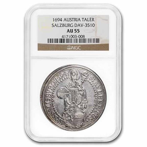 1694 Austrian States Salzburg Silver Taler AU-55 NGC