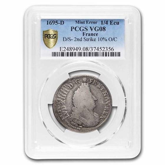 1695-D France Silver 1/4 Ecu Louis XIV VG-8 PCGS (Mint Error)