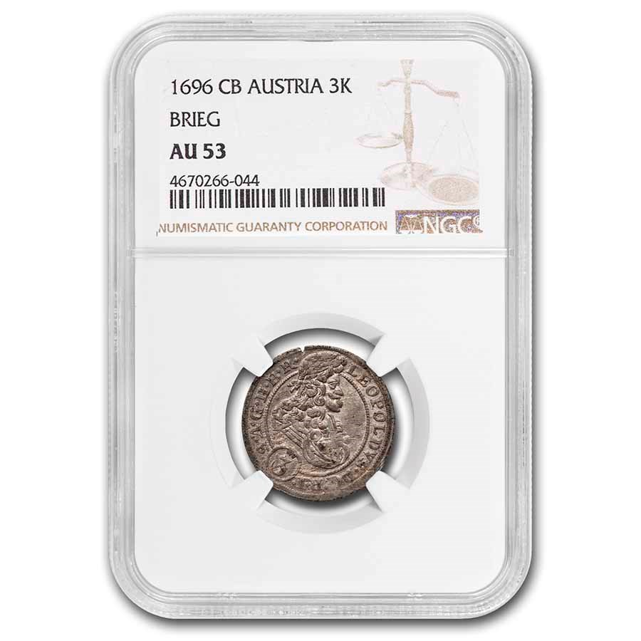 1696-CB Austrian States Brieg Silver Three Kreuzer AU-53 NGC