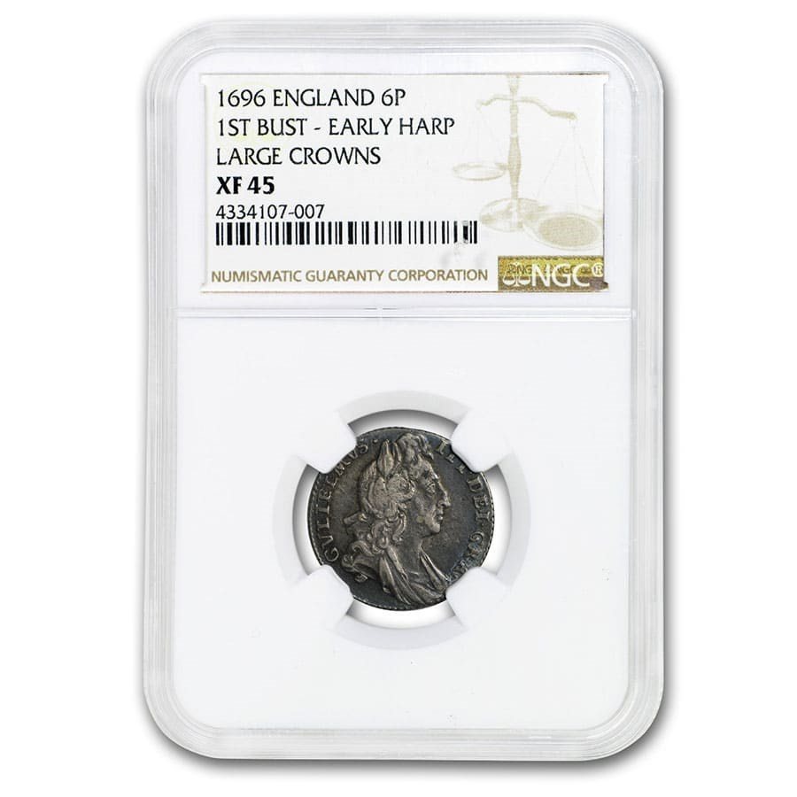 1696 Great Britain Silver 6 Pence William III XF-45 NGC