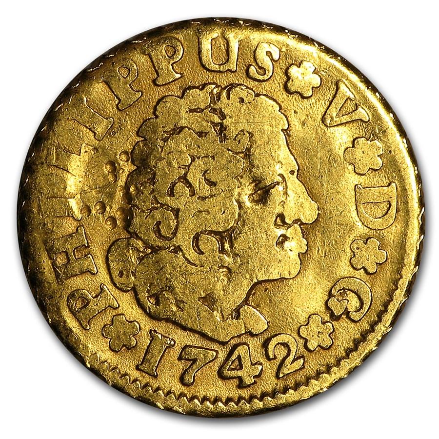 1700-1870 Spain Gold 1/2 Escudo Random Date (Cleaned)