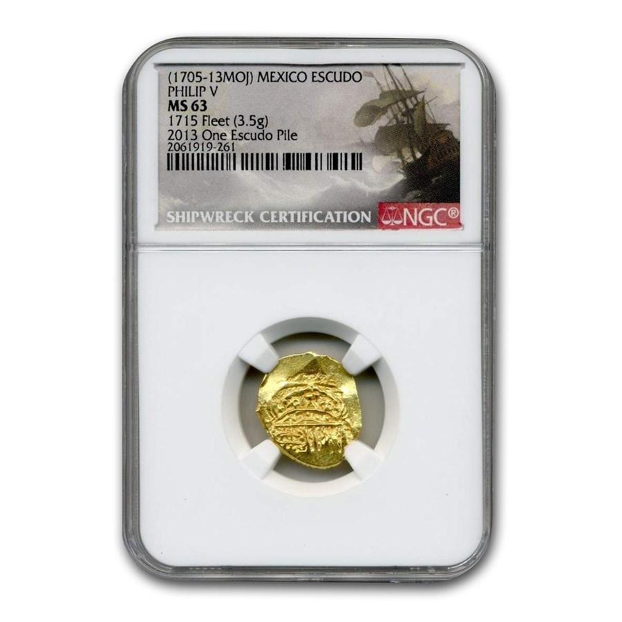 (1705-1713 MOJ) Mexico Gold Escudo Philip V Type MS-63 NGC