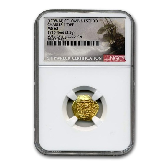 (1708-1714) Colombia Gold Escudo Charles II Type MS-63 NGC