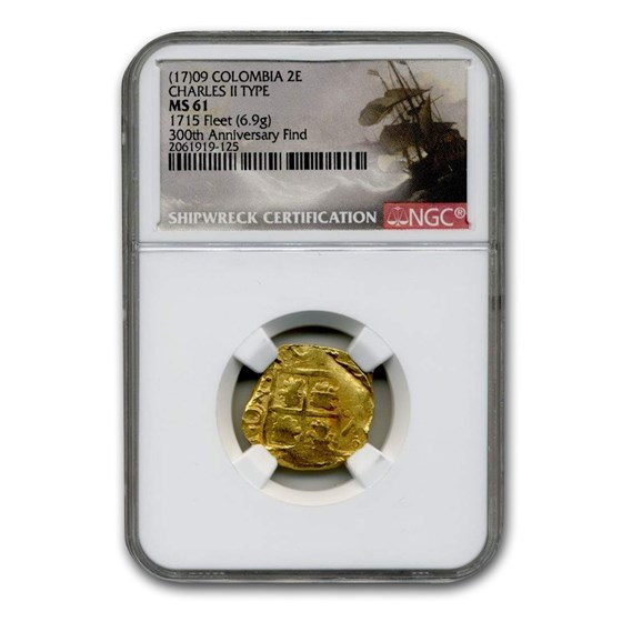 (17)09 Colombia Gold 2 Escudo Charles II Type MS-61 NGC