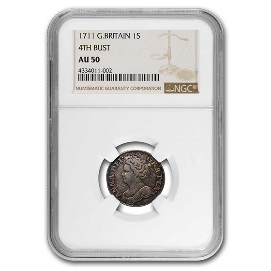 1711 Great Britain Silver Shilling Queen Anne AU-50 NGC