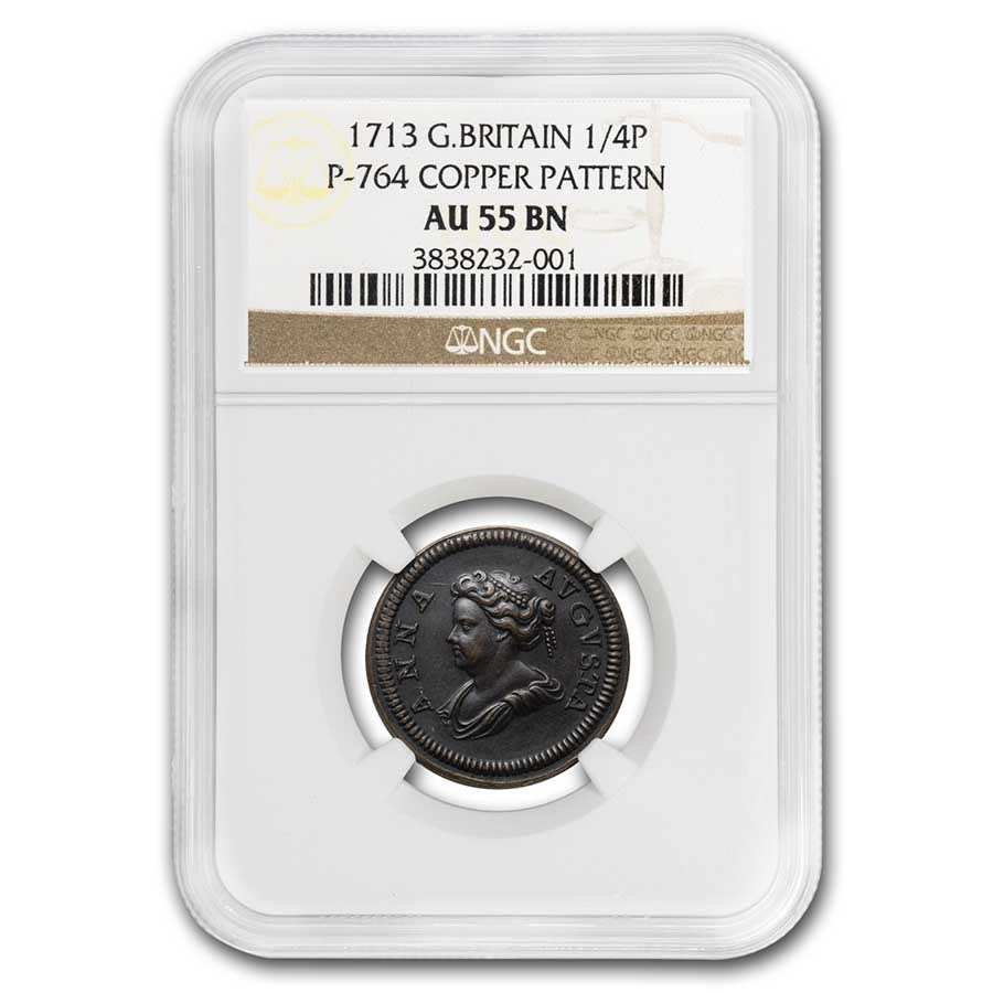 1713 Great Britain Copper 1/4 Penny Pattern AU-55 NGC (Brown)