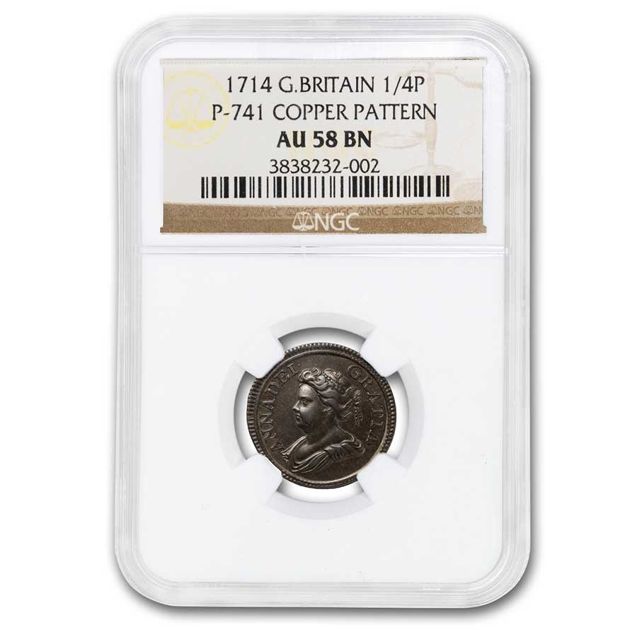1714 Great Britain Copper 1/4 penny Pattern AU-58 BN NGC