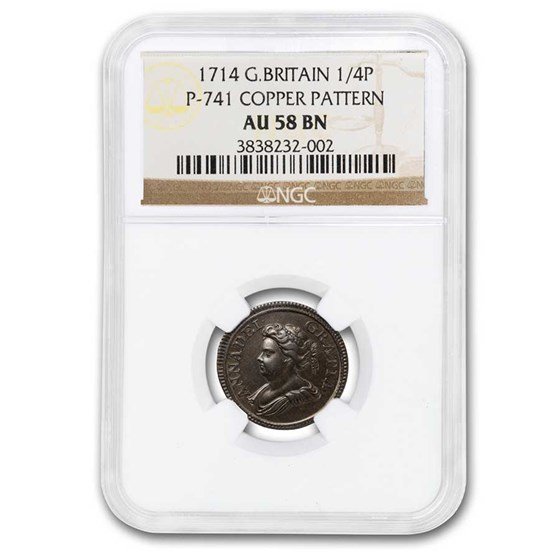 1714 Great Britain Copper 1/4 Penny Pattern AU-58 NGC (Brown)