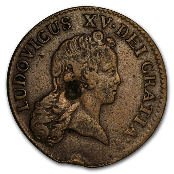 1720 AA French Colonies Half Sol VF (Chopmark)