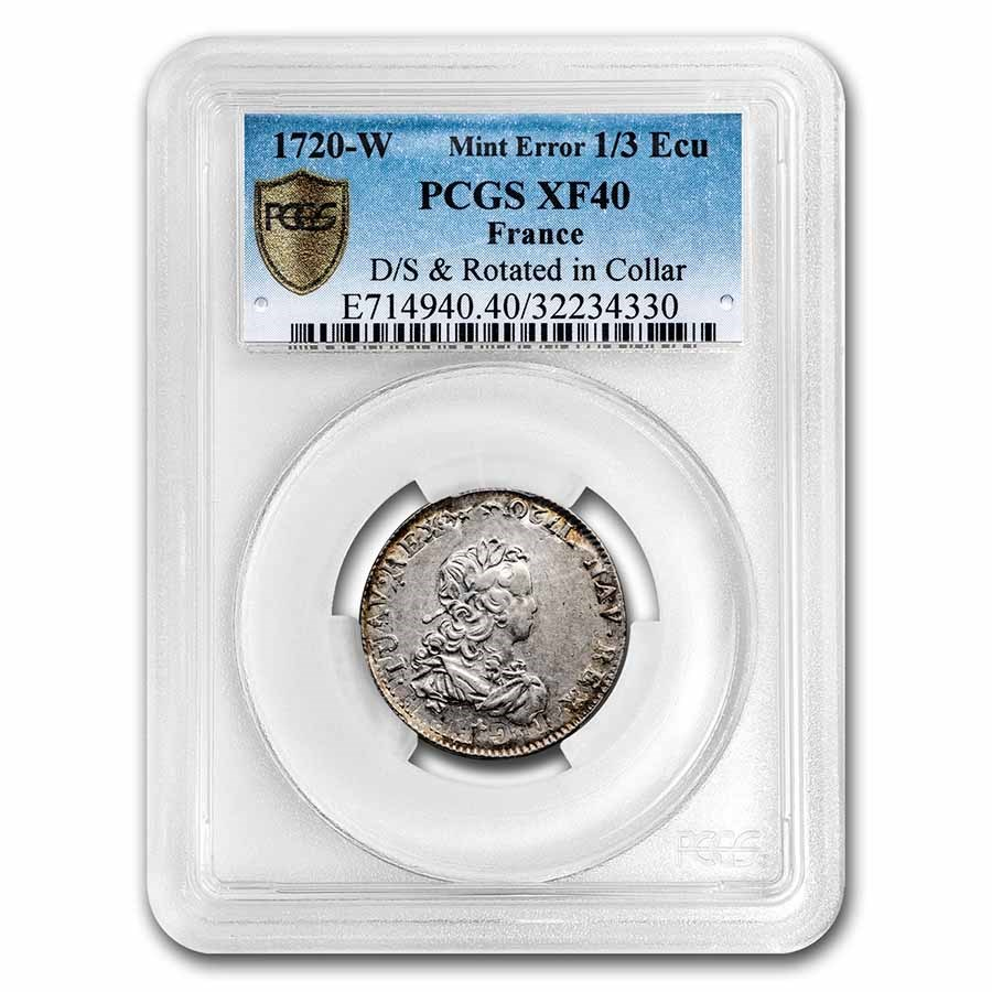 1720-W France Silver 1/3 Ecu Louis XV XF-40 PCGS (Mint Error)
