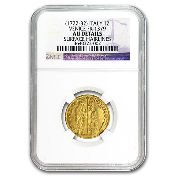 1722-1732 Venice Gold Zecchino Ducat AU Details NGC (Random)
