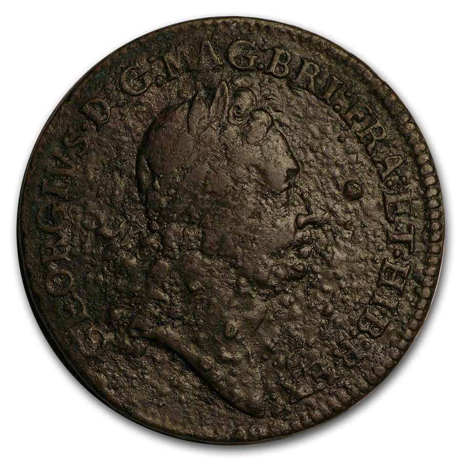 1722 Rosa Americana Twopence Fine Details